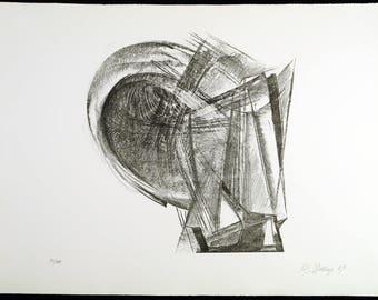 Entwurf für Metallplatten und Draht II, 1967. Lithograph by Rudolf BELLING