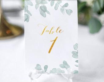 Wedding table numbers, Italian rustic wedding decoration, rustic table cards for weddings, eucalyptus numbers for weddings