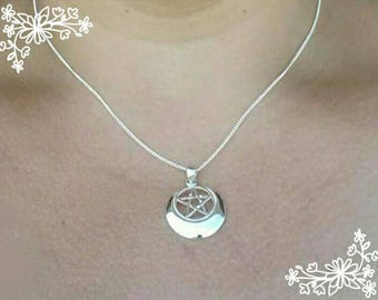 Silver pentacle wiccan Pagan Priestess witch jewelry Crescent Moon jewelry