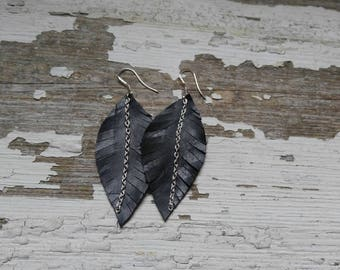 Black Leather Feather Earrings/Boho Leather Earrings/Leather Statement Earrings/Gift For Her