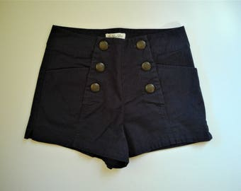 "Ladies High Waist Sailor Shorts - Navy Blue ""Others Follow"" - Size 25 - Six Button with Pockets"