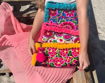 Embroidered Pom Pom Wristlet Clutch. Boho Bag. Beach Bag. Bohemian bag. Hmong bag. Embroidered bag. Pom Pom bag. Pom Pom Clutch.
