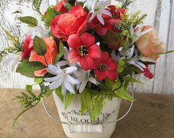 Vintage White Bloom Container with Spring Petunia Arrangement, Summer Arrangement, Shabby Chic Floral Arrangement, Table Centerpiece