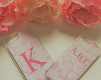 Custom Monogrammed Peony Rose Phone Case iPhone, Samsung