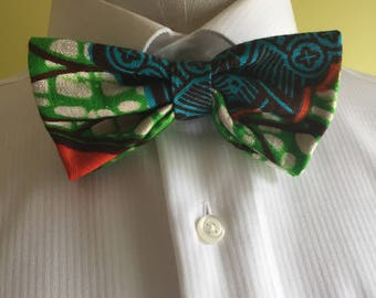 Green Ankara Gentlemen Ankara Bow Tie with Pocket Square, Men's Bow-tie,African Men's Fashion, African Bow Tie, Gift for Men