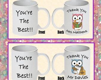 Thank You Teacher Owl Themed Printed Boxed Mugs