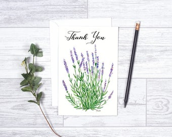 """Thank you Lavender - Note Card - Gifts - 4""""x6"""" - Individual Card -Lavender Plant - Nature Greeting Card - Thank You Card - Purple Flowers"""