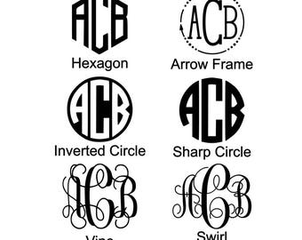 Monogram Decal - Swirl, vine, interlocked, circle, hexagon, round, curly