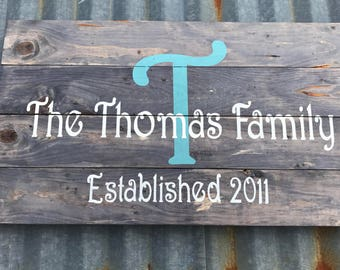 Personalized Weathered Wood Sign