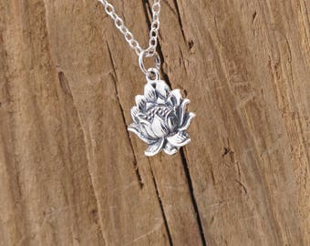 Sterling Silver Lotus Blossom Textured Flower Charm Pendant Yoga Necklace