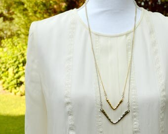 Chloe Chevron Gold & Silver Necklace / Dainty Simple Long Beautiful Necklace That Matches Every Outfit!