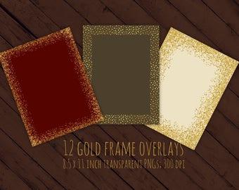 Gold glitter frames, overlays, 8.5 x 11 inches, Christmas frames, gold confetti frames, gold glitter borders, digital frames, foil, DOWNLOAD