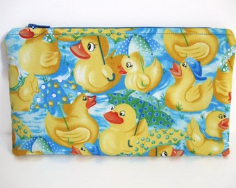 Rubber Ducky Pencil Pouch, Flat Zipper Zip Pouch, Cotton Fabric, Coupon Holder Money Wallet, Animal Duck Electronic Holder Gift for Kids 9x5