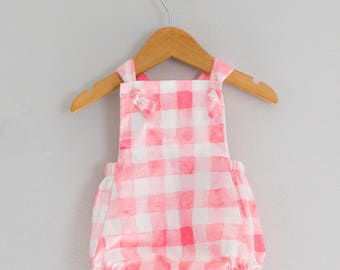 Pink Gingham Baby Girl Romper// Size 6-9 Months Ready to ship// Free Shipping