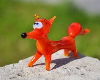 Blown glass fox figurine animals glass orange fox miniature art glass fox toys murano foxes tiny figurine small figure glass sculptures gif