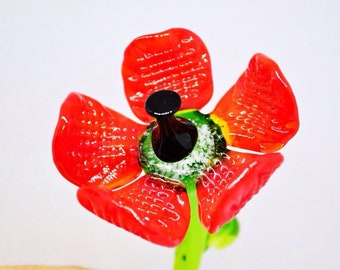 Red Glass poppy flowers figurine blown flower sculpture art glass flower murano toys tiny small flower miniatures figure toys poppy flowers