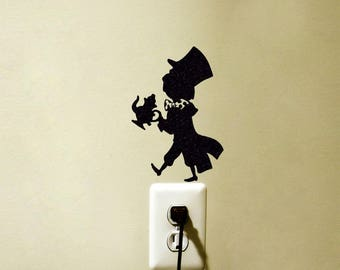 Mad Hatter Alice in Wonderland Inspired Vinyl Decal Sticker Light Switch Wall Home Decor