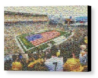 Unique Pittsburgh Steelers Mosaic Art Print of Heinz Field with Over 370 Player Trading Cards (1933 - Present).