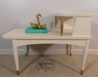 Vintage Mid Century Modern Hand Painted End Table Side Table Occasional Table  Step Table White Gold