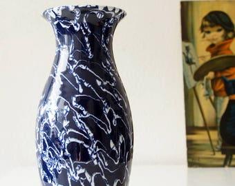 Blue and white Fat Lava vase, Mid Century