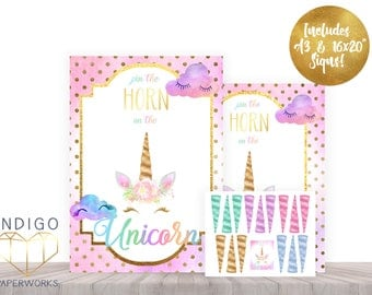 Pin The Horn On The Unicorn Party Game, Printable Rainbow Birthday Game, Instant Download Rainbow Unicorn Party Game