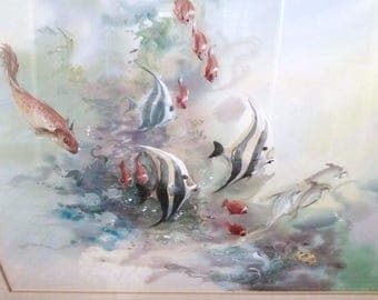 Watercolor – Framed Underwater Scene by Thai Artist Ead – Born Surachai Promsuntisit