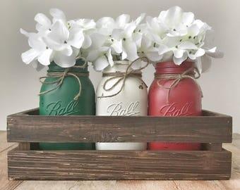 Holiday Mason jar centerpiece, christmas table centerpiece, rustic christmas decor, mason jar decor, rustic home decor, farmhouse decor, mas