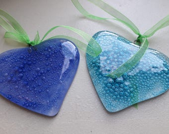 Glass heart. Fused glass heart. Bubbles. Hang in window or on the wall. Valentine's day. Mothers day