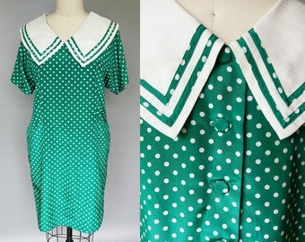 peter pan / 1960s green polka dot shift dress / 8 10 medium