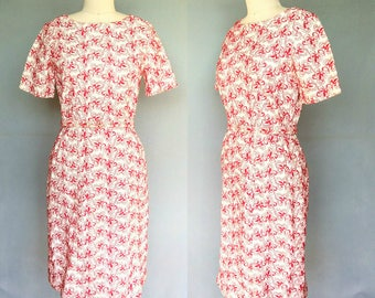 alexandertorte / 1960s floral embroidered wiggle dress in red and white / small