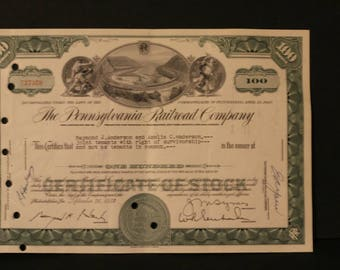 100 Shares of Pennsylvania Railroad Co.