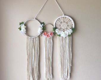 3 hoop floral, doily dream catcher