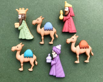 Christmas King Buttons - Dress it Up We Three Kings - Camel Button - Animal Embellishment - Holiday Decoration - Nativity Buttons