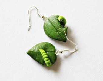 Caterpillar Earrings - Polymer Clay Earrings - Green Leaf Earrings - Gift for Gardener - Cute Earrings - Fun Earrings - Caterpillar on Leaf