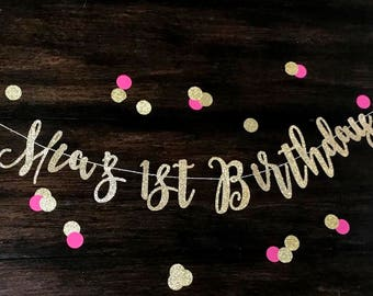 Happy Birthday Banner, 1st Birthday Banner, First Birthday, Custom Birthday, Glitter Birthday Banner, Gold Birthday Party,