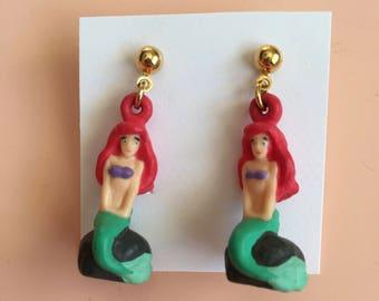Vintage The Little Mermaid Earrings by Applause - 90s Disney Cartoon Animated Movies - Ariel