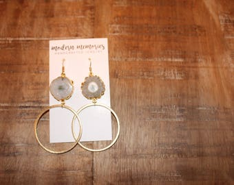 White Druzy Gold Hoop Earrings
