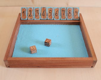 "wooden _ ""shut the box"" game"