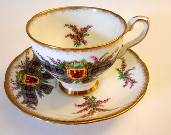 Vintage Royal Stafford Tartan Series Cup And Saucer Per Mare Per Terras
