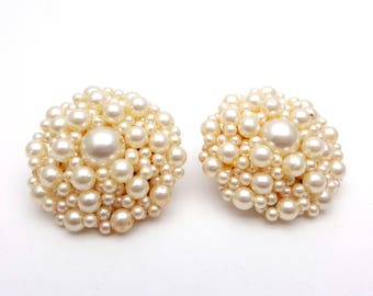 Vintage Clip On 50s Earrings Floral Cluster of Faux Pearls Stud Signed Japan Retro Mod Wedding Bride Jewelry Classic Feminine Statement