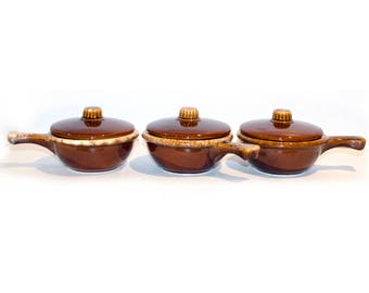 Hull Brown Drip Soup Bowls with Lids by BigMuddyVintageShop