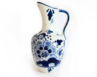 Delft Pottery, Delft Vase, Delft Pitcher, Blue White Delft by BigMuddyVintageShop