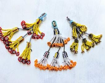 3 Vintage Kuchi Tribal Beaded Tassels Bag Tassels, Door Decor, Belly Dance