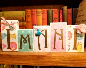 Personalized Nursery Name Blocks.   Baby Safari.  Pink, mint, turquoise, white.  Baby shower, photo prop, centerpiece