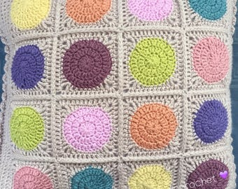 Hand made crochet cushion cover with pad