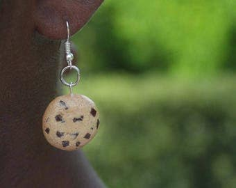 Chocolate Chip Cookie Miniature Food Polymer Clay Jewlery Fishhook Earrings