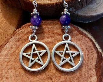 Pentacle with Charoite earrings