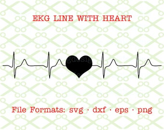 EKG Heart SVG, Dxf, Eps & Png. Digital Cut Files for Cricut, Silhouette; Ekg Trace with Heart Silhouette, Ekg Ecg Heart Clipart,, Line Art