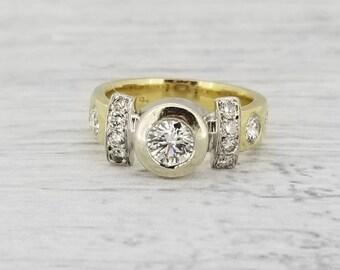 14k two tone Heavyweight 1980s diamond ring
