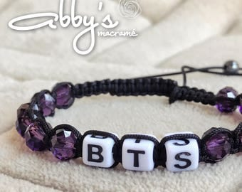 BTS black and violet fabric bracelet